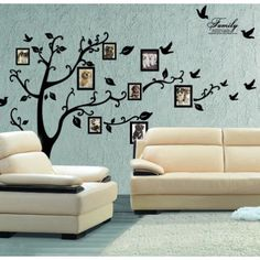 Removable Decorative Wall Decal with Photo Frames  Love this for a family room.