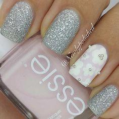 Silver Flower Nail Design