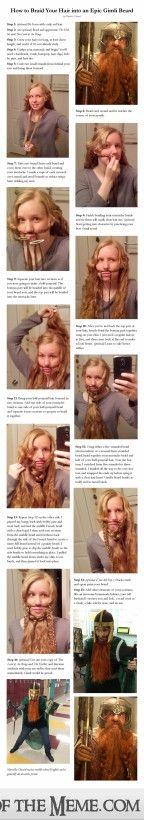 Oh what a lovely beard she has! DIY Gimli http://ift.tt/1dLtpD0