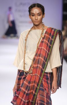 Autumn Plaid linen Sari
