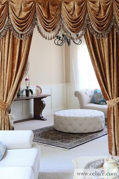 Gold Velvet Pleated Austrian Style Swag Valance draperies http://www.celuce.com/p/194/glacial-swan-swag-valance-curtains