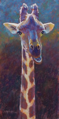 """G is for Giraffe"" (pastel, 16x8 inches) sold I had a wonderfully productive workshop in Little Rock this week. My longest workshop yet (4 days) with 17 very talented ladies! We had a blast and everyone enjoyed the workshop and gave very positive feedback. The giraffe was my demo on Tuesday night at the group meeting of the Arkansas Pastel Society. I got it mostly done there, then tweaked the background and other bits today."