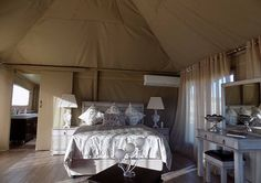 Inside the luxury tent at Goldfields Game Ranch. Luxury Tents, Luxury Rooms, Glamping, Ranch, Swimming Pools, Games, Bed, Furniture, Home Decor