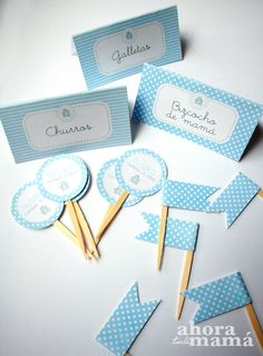Carteles y toppers de banderita y redondos para cumple Baby Shower Deco, Baby Boy Shower, Candy Bar Comunion, Elephant Birthday, Baby Shawer, Baby Christening, Birthday Design, Sweet Memories, Diy Party