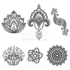 Henna tattoo flower template.Mehndi. Set.