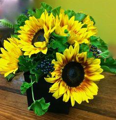 Sunflowers, Privet, Curly Geranium -   Ellen Snyder Floral Design