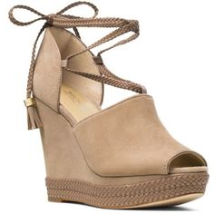 Michael Michael Kors Dk Khaki Hastings Wedge Sandal - Women's (3.100 ARS) ❤ liked on Polyvore featuring shoes, sandals, dk khaki, wedge sole shoes, michael michael kors, wedge heel shoes, cushioned shoes and khaki shoes