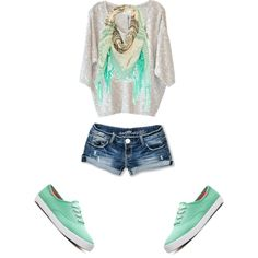 light gray sweater with jean shorts, scarf, and mint green keds