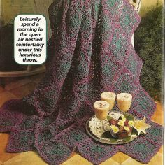 Summer Heather Afghan Crochet Pattern Home Decor Throw Blanket P-290 by PatternMania3 on Etsy