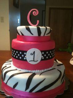 Pink Zebra 1st Birthday Cake