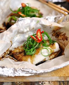 Fish parcels with ginger & spring onion | www.fussfreecooking.com