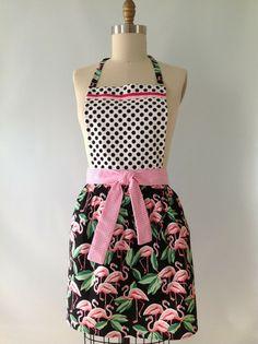 Vintage Style 50's Flamingo Apron