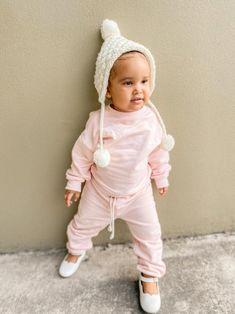 Keely Top Juni Pant Tracksuit Light Rose Cream Cupid Beanie Hanging Pom Poms, Baby Girl Accessories, Light Rose, Cream Roses, Cupid, Snug, Lounge Wear, Little Girls, Beanie