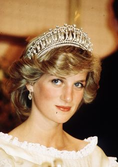 The Princess of Wales (later Diana, Princess of Wales) wearing the Cambridge Lover's Knot Tiara formerly worn by Queen Elizabeth II and Queen Mary.