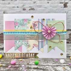Pastel Colour Palette, Pastel Colors, Banner Shapes, Birthday Cards, Happy Birthday, We R Memory Keepers, Quick Cards, Butterfly Cards, Pretty Pastel