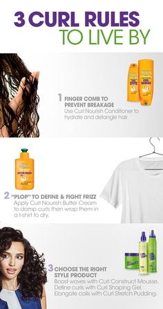 "Our top 3 Curl Rules: 1. In the shower, finger-comb hydrating Curl Nourish Conditioner throughout strands to detangle and avoid breakage.  2. Add Curl Nourish Butter Cream to damp hair before you ""plop"" to define curls and help fend off frizz. 3. Choose the perfect styling product for your unique curl type. Curl Construct is great for defining waves and fighting frizz. Curl Shape Spray Gel is ideal for curl definition and shine. Curl Stretch Pudding is best for nourishing & elongating curls."