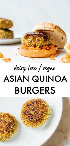 Vegan ASIAN QUINOA BURGERS made with broccoli, quinoa and soy sauce for an easy make-ahead meal. They're healthy and can easily be made gluten free, and are a great way to sneak in veggies! Vegan Dinner Recipes, Delicious Vegan Recipes, Vegan Dinners, Vegetarian Recipes, Cooking Recipes, Healthy Recipes, Entree Recipes, Mexican Recipes, Diet Recipes