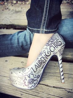 Custom Hand Painted Wedding Shoes Black and by LoveMirandaMarie, $295.00