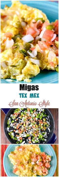 These Migas make a delicious spicy Tex-Mex style Breakfast made with scrambled eggs, fried corn tortillas, onions, tomatoes, and jalapenos. Mexican Dishes, Mexican Food Recipes, Real Food Recipes, Cooking Recipes, Ethnic Recipes, Breakfast Tacos, Breakfast Recipes, Breakfast Bites, One Pot Meals