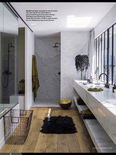 Bathroom Inspiration...Marble floor and wood floor on same plane.