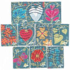 10 USA Garden of Love set, used postage stamps, USA postage stamps