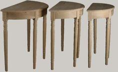 JUVIn Puolipyöreäpöytä lev. 55, 60, 75 ja 90 cm, laatikolla, tervaleppää, syvyys puolet leveydestä, kork. 77 cm