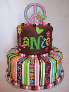 Peace Sign Cake, my daughter would love this!!!!!!
