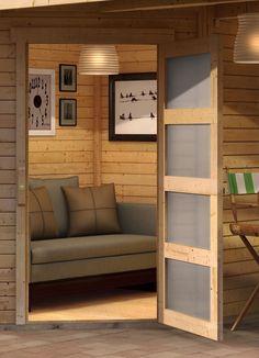 Tuinhuis Schwandorf 3 uit de Woodfeeling collectie van het Duitse A-merk Karibu wordt standaard geleverd met dakaanbouw van 240 cm die aan beide kanten van de berging geplaatst kan worden. Tuinhuis Schwandorf 3 met overkapping van Karibu van duurzaam Scandinavisch vuren hout wordt standaard onbehandeld geleverd. Entryway Bench, Furniture, Gardening, Home Decor, Products, Entry Bench, Hall Bench, Decoration Home, Room Decor
