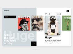 """Magazin website concept Hit """"L"""" if you like it Have a great day guys! Ui Web, Web Design Inspiration, Design Ideas, Design Elements, Ui Elements, Web Magazine, User Interface Design, Visual Communication, Interactive Design"""