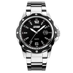 Scheppend Men and Womens New Analog Quartz Wrist Watch with Stainless Steel StrapBlack * Want to know more, click on the image.