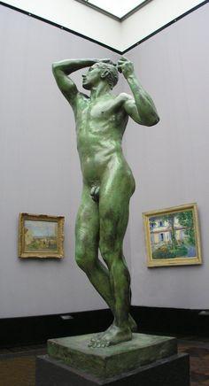"""Sculpture en bronze d'Auguste Robin (grandeur nature) nommée : Robin l""""âge d'airain, 1877. Elle représente bien le mouvement impressionnisme par son mouvement et sa réalité."""