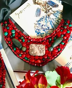 Inspired by Ukrainian ethnic jewelry and made of coral and jasper. Beautifully packaged, ready for gift giving. Ethnic Jewelry, Unique Jewelry, Patterned Socks, Jasper Stone, Colorful Socks, Cool Socks, Really Cool Stuff, Gifts For Women, Christmas Wreaths