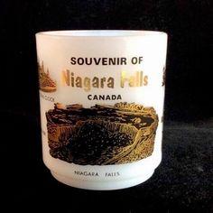 Niagara Falls Canada Coffee Mug Glasbake 10 Ounces Milk Glass Souvenir #Glasbake #Mug