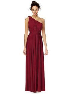 For bridal party - has convertible top Claret or Platinum Twist Wrap Dress: Long http://www.dessy.com/dresses/twist-long/