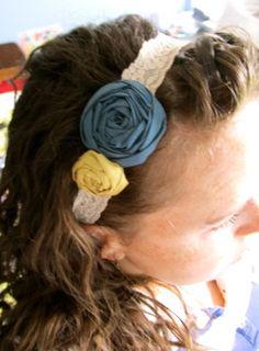 Deep Blue and Mustard fabric flower by HappyLittleLovelies on Etsy, #happy #little #lovelies #fabric #flower