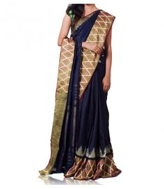 Ikat dark Blue Brown saree