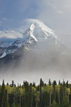 A misty Mount Robson, south face. Mount Robson Provincial Park, BC, Canada.