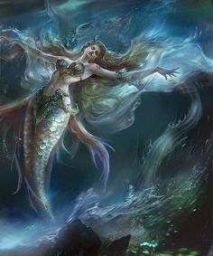 Fantasy, Beautiful and dreams Siren Mermaid, Mermaid Lagoon, Mermaid Fairy, Mermaid Tale, Mythological Creatures, Mythical Creatures, Sea Creatures, Fantasy Mermaids, Mermaids And Mermen