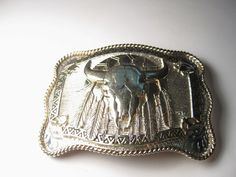 Vintage Southwestern Gold/Silver plated Ornate Steer Belt Buckle - Hand Made #SilversmithCollectionAwardDesignMetals