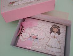 Libro de Firmas decorada con la colección de Dayka Trade 2014 Mini Scrapbook Albums, Mini Albums, Communion, Toy Chest, Decoupage, Doodles, Frame, Crafts, Handmade