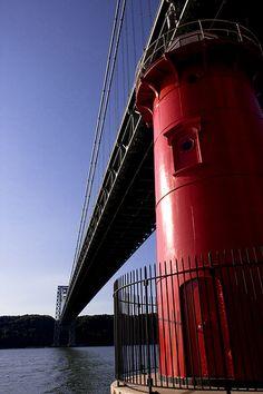 Little Red Lighthouse Under the George Washington Bridge, NYC. _Exteriors_StevenCohen_StevenC_in_NYC_ edit Little Red Lighthouse, Washington Heights, Hudson River, George Washington Bridge, Golden Gate Bridge, New York City, Nyc, Exterior, Architecture