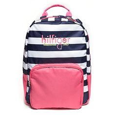 Tommy Hilfiger little girls' backpack. Just the thing for the girl-on-the-go: Our pretty pink back pack featuring rugby stripes. For extra credit we padded the shoulder straps for extra comfy carrying. <br>• Synthetic fabric.<br>• Exterior and interior pockets, lined, internal clasp, adjustable straps, tiny Tommy flag on side. <br>• Spot clean.<br>• Imported.<br>