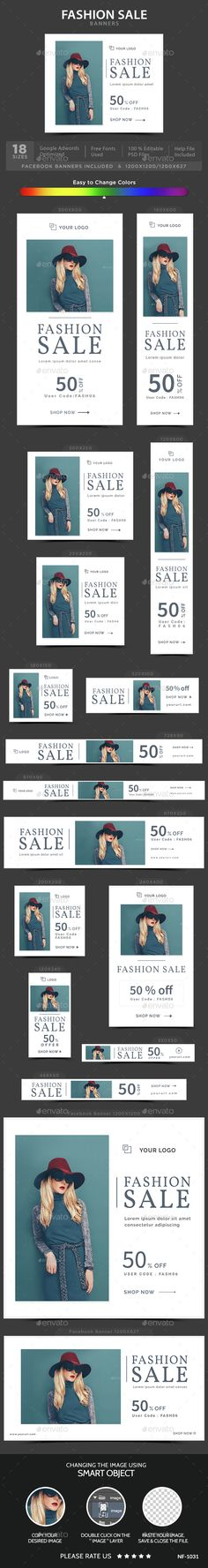 Fashion Sale Banners — Photoshop PSD #deal #promotions • Available here → https://graphicriver.net/item/fashion-sale-banners/14720130?ref=pxcr