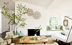soothing space in black, white, and green  via plushpalate.blogspot.com
