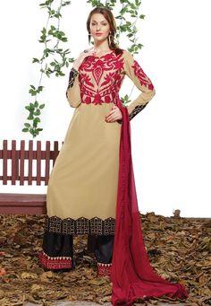 #Designer Cream #Art Silk And Georgette #Salwar Kameez