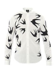 00O00 Menswear Blog: BBC 'The Voice' Mike Ward's McQ Alexander McQueen swallow print shirt