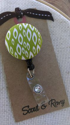 Diy badge reel with velcro so you can switch patterns diy love monogram badge reel modern badge holder retractable badge reel green solutioingenieria Image collections