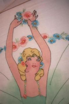 Exquisite Vintage 20's Southern Belle Ballerina Organdy Tinted Hnd Emb Bedspread | eBay