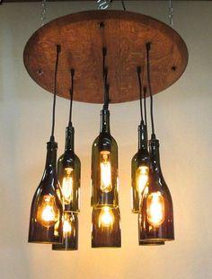 9 Light Wine Bottle  Barrel Top Chandelier Ceiling Fixture Repurposed Restaurant Bar Dining Room - SHag shop - record room