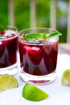 Blackberry Mojitos: Blackberries, Mint Leaves, White Rum, Simple Syrup, Lime Juice, Soda Water